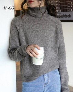 2020 Autumn Winter New Women Cashmere Sweater Turtleneck Loose Lazy Wind Pullover Knit Raglan Sleeve High Street Vintage Sweater