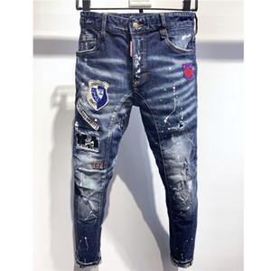 فاخر مصمم الجينز الرجال العلامة التجارية في الهواء الطلق سروال جينز ممزق المتعثرة جينز للدراجات النارية ثقوب رسالة طباعة الهيب هوب الجينز 2020740K