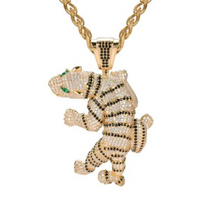 Мужчины Hiphop ожерелье Золото Серебро цветного CZ Тигр Подвеска Neckace с кубинской цепью Punk Rock Ювелирного подарком для мужчин