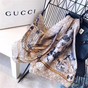 Sciarpa di seta firmata per donna 2019 Top di primavera Sciarpe lunghe di fiori floreali di marca Dimensioni 180x90Cm Scialli regalo