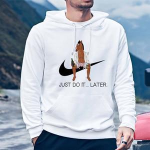 Felpe Felpa Bojack Cavaliere di moda Stampa incappucciato cartone animato divertente con cappuccio a maniche lunghe ragazzo hoodie top maschio sudadera bianco
