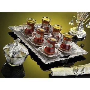 Banhado a prata Turkish Tea Set para seis, com Sugar Bowl copos de chá