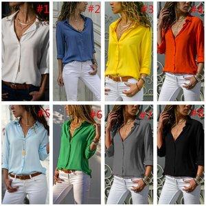 T Shirt manica con scollo a V camicetta delle donne di moda lungo solido di colore del tasto chiffon camicette Turn-down Collar Top Female Blusas Top Abbigliamento