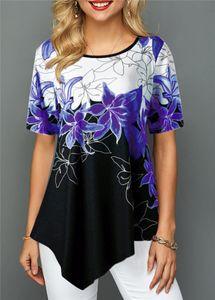 Конструктор женщин Tshirrts Flora Printed Мода коротким рукавом лето Tops Casual Irrefular Хем женщин футболки