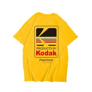 Verano Hombres Mujeres T-INS Corea del japonés flojo retro salvaje Kodak Carta de manga corta Hip Hop Moda algodón hombres de la camiseta Top