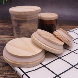 قبعات زجاجة خشبية ميسون جرة اغطية 8 مقاسات قابلة لإعادة الاستخدام البيئة الخشب مع زجاجة سيليكون حلقة زجاج ختم غطاء الغبار يغطي