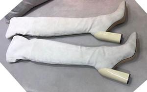 yüksek -end TOPFashion Lüks Tasarımcı Wome uzun Patik İtalyan Markası Üzeri Uyluk Yüksek Boots Partisi yukarı Diz Boots Siyah Süet Deri Dantel