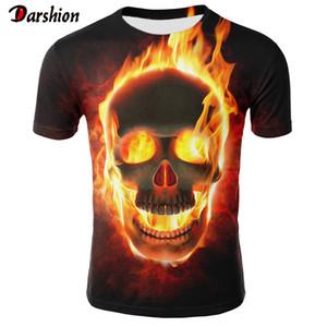 New Skull T-Shirt Männer Frauen 3D-Druck Feuer-Schädel-T-Shirt Kurzarm Hip-Hop Tees Sommer Tops Coole T-Shirt Halloween