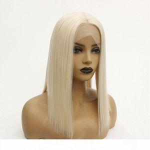 Best Selling # 60 La donna di platino serica parrucche sintetiche termoresistenti merletto anteriore parrucche per donne nere
