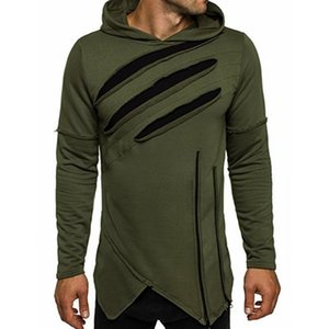 Men's Long Sleeve T shirt Autumn Cotton Solid Holes Scratch Tops Long Irregular hem Gothic style Top Tees