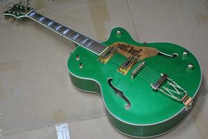 Metal Green Chet Atkins Land Unterschrift E-Gitarre Jazz Hollow Body Gre Falcon G6120 Gold-Trapeze Tailpiece Jazz Signature Gitarre