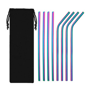 Elenxs Legal 10 Pcs Conjunto de Palha de Aço Inoxidável Multi Color Curva Reta Reutilizável Lavável com Escova de Barras de Palha