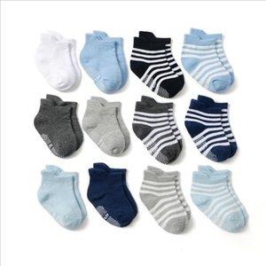Toddler Socks Anti Slip Baby Girl Ankle Socks Cute Baby Floor Sock Solid Striped Boys Sock Breathable Baby Footwear 4 Colors DW5250