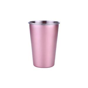 Al por mayor de acero inoxidable taza de café 5 colores cerveza té jugo de bebida de leche Vaso acampar al aire libre Viajes 500ml taza grande de paja Copa DH1261 T03
