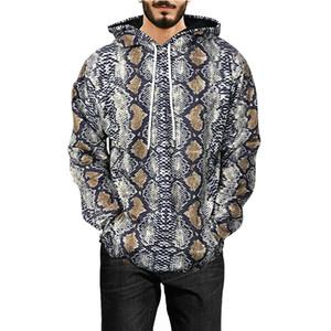 M-XXXL snakeskin print pullover sweater men's long-sleeved hooded sweater coat