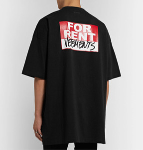 20ss Lüks Avrupa Fransa Vetements Kiralık Geri Big Logo Tişört Moda Erkek Tasarımcısı T Shirt Kadınlar Giyim Casual Pamuk Tee