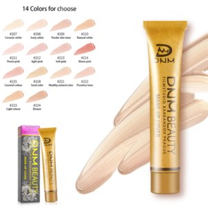 DNM Small Gold Tube Concealer Foundation Cream Face Cover New Wedding Makeup Party Hide Blemish Waterproof Highlight 14 Colors