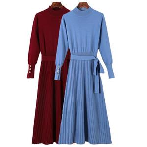 Larga caliente mujeres se visten de otoño invierno de vestir de punto Fajas una línea de vestidos de jersey con Pull Femme
