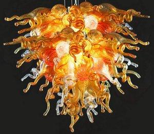 Оптовой Дешевой Цена Янтарной Люстра LED Saving источник света Урожай викторианской Чихули Стиль Рука выдувной цепь потолок муранского стекло