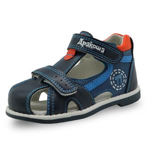 Apakowa 2019 Yaz Çocuklar Ayakkabı Marka Kapalı Toe Toddler Erkek Sandalet Ortopedik Spor Pu Deri Bebek Erkek Sandalet Ayakkabı Y19062001