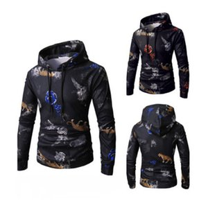 패션 남성의 인쇄 까마귀 운동복 후드 가을 따뜻한 슬림 맞춤 풀오버 재킷 남자 점퍼 긴 소매 후드 핫 세일 탑