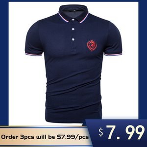 2020 New Summer Cotton Shirt Homme Top Qualité Social Business Homme Polos manches courtes broderie aigle Mens Sporting