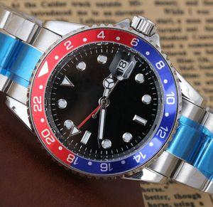 Nuevo Pepsi GMT Moda para hombre Mecánico Reloj de movimiento automático de acero inoxidable Reloj deportivo Batman Relojes de pulsera de diseño de viento automático fast001