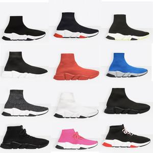 جديد مصمم أحذية سرعة جورب رياضة تمتد شبكة عالية أعلى أحذية للرجال إمرأة أسود أبيض أحمر بريق عداء شقة المدربين US5-12