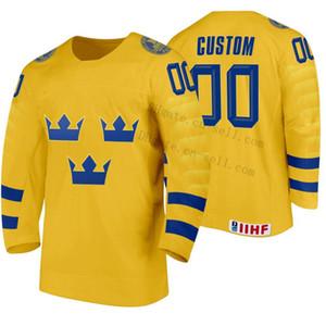 Qualquer Nome qualquer número 2020 IIHF Mundial Suécia Hokcey Jersey Personalizar amarelo da casa Longe azul das mulheres dos homens da Juventude