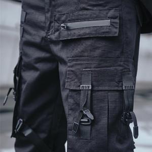 2020 리본 카고 바지 남성 블랙 포켓 스트리트 웨어 Techwear 바지 힙합 바지 하렘 조깅 스웨트 팬츠 밀리터리