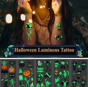 Halloween Fluorescent Temporary татуировка наклейка к окружающей среде содружественных детей Pumkin животных мультфильм татуировка наклейка для подарков партии красоты