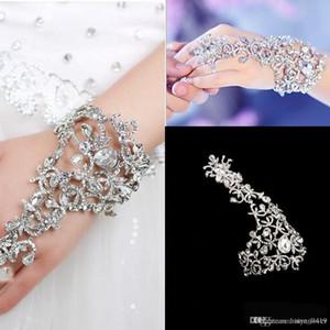Livraison gratuite Gants de mariage pas cher bijoux de mariée strass cristal doigt chaîne Bague Bracelet Parti magnifique événement Bracelet