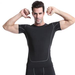 entrenamiento de la aptitud de la moda Venta-Nuevo caliente de manga corta del desgaste de la yoga de compresión elástica de secado rápido se divierte la camiseta ejecutan desgaste de baloncesto masculino