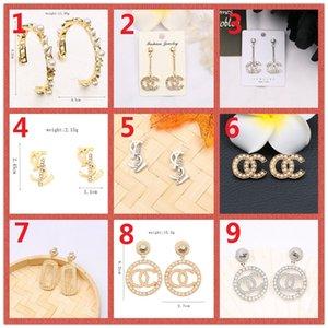 HOT! Clássico 14K Marca Brinco Logo Carta Gold Silver Pin diamante colar de pérolas pingente Wedding Party Ms Gift Box A3