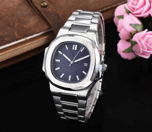 Reloj automático de lujo de alta calidad, con esfera azul, acero inoxidable, nautilus, relojes clásicos de cuarzo para hombres y mujeres