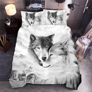 Wolf Пары Printed Постельные принадлежности Комплекты животных пододеяльник Комплекты Queen King пододеяльник Постельное белье