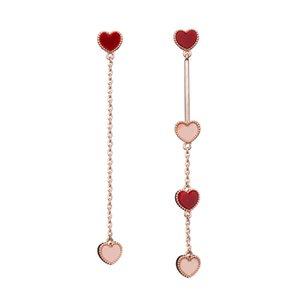 Fashion Asymmetric Drop Earrings Charming Heart-Shaped Long Earrings For Women Bride Wedding Banquet Accessories