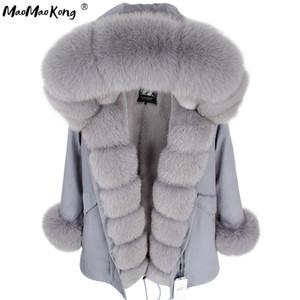 parka coat women casaco feminino casacos de invernoabrigo mujer Gray Natural Real Fur Jacket Coats Women Fashion Real Fur Co