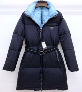 2019 piumino da donna, cintura da cappotto da donna ispessita design stile OL nobile atmosfera nero blu grigio