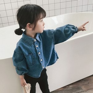 Mihkalev Baby girl denim shirts and blouses for kids clothes girls jeans shirts long sleeve children autumn clothes costume Y200704