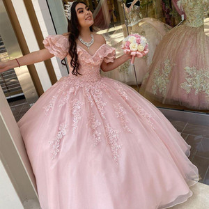 Elegant Blush Pink Ball Gown Quinceanera Dresses Sweet 16 Prom Dresses Off the shoulder Lace Applique Beaded Cheap Floor Length