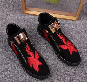 Heiße Verkäufe Side Zip-Plattform Luxus Loafers Herren Schuhe echtes Leder Mode Wohnungen Herren Schuhe Casual Designer