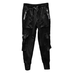 2020 Мужчины Streetwear Joggers Multi-карманный Гарем Hip Брюки черные ленты Hombre сукна Мужской карандаш штаны Сыпучие