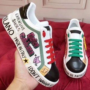 2020o de lujo hechos a medida de las zapatillas de deporte casuales de graffiti pintados a mano para hombre y mujer, elegante y versátil zapatos de fiesta de la personalidad, sin caja 1z