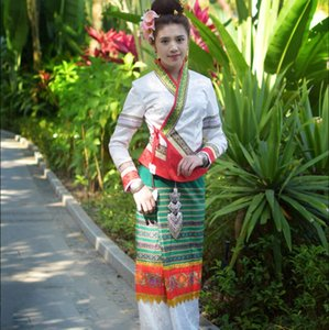 Oriental Thaïlande traditionnelle Retro Dai Orange Blanc Vert minorité ethnique du Festival des robes du Yunnan Dai Princesse Vêtements Veste + Jupe