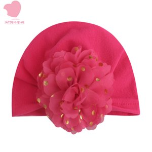 Sweet Dot Baby Girl Hat with Bronzing flower Bow Candy Color Baby Turban Cap for Girls Elastic Infant Accessories Good skin