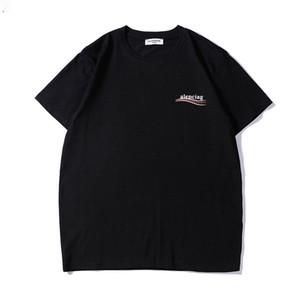 Мода повседневная мужская футболка новое лето футболка популярная печать balenciaga men clothing мужчины женщины пары роскошные хип-хоп