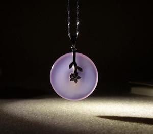 Ghiaccio naturale Seed Gioielli calcedonio rosa una fibbia La sicurezza delle merci 925 dell'intarsio Pendant sicuro pendente
