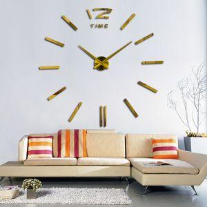 새로운 DIY 아크릴 거울 벽 스티커 시계 큰 현대적인 디자인 3D 스티커 유럽 패턴 홈 복고 사랑 시계 pegatinas 드 깎았
