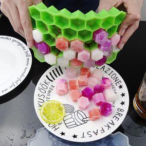 Food Grade Honeycomb Ice Cube Tray 37 Кубики Силиконовые Ice Cube Maker Плесень Без крышки для Ice Cream Party Виски коктейль DBC BH3571